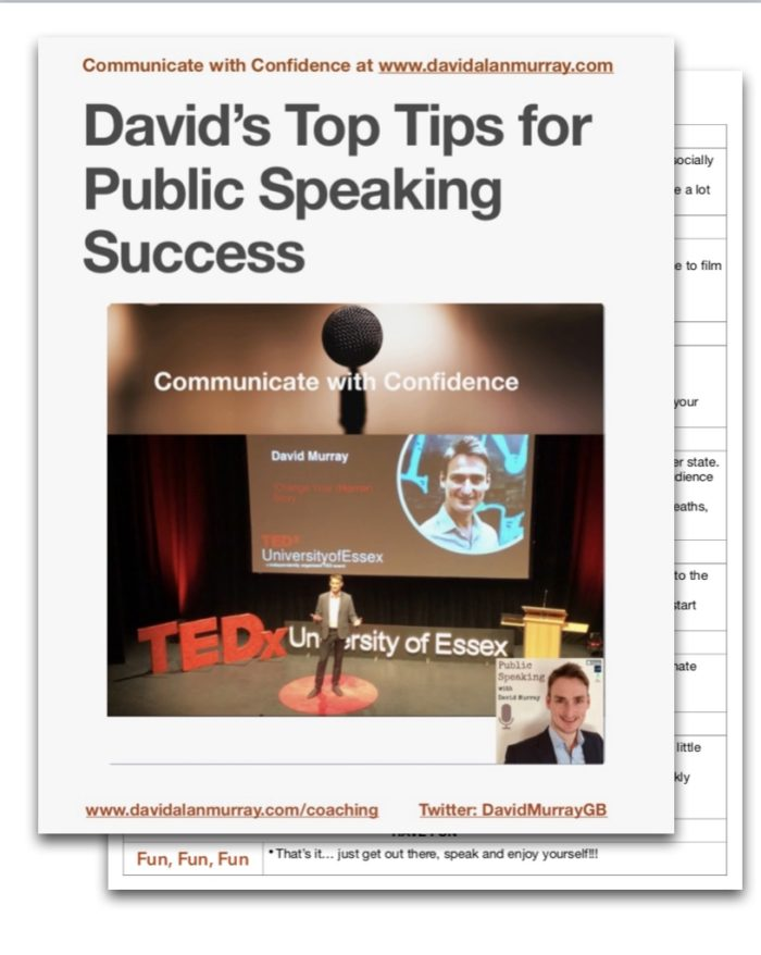 David Murray Public Speaking Success Top Tips