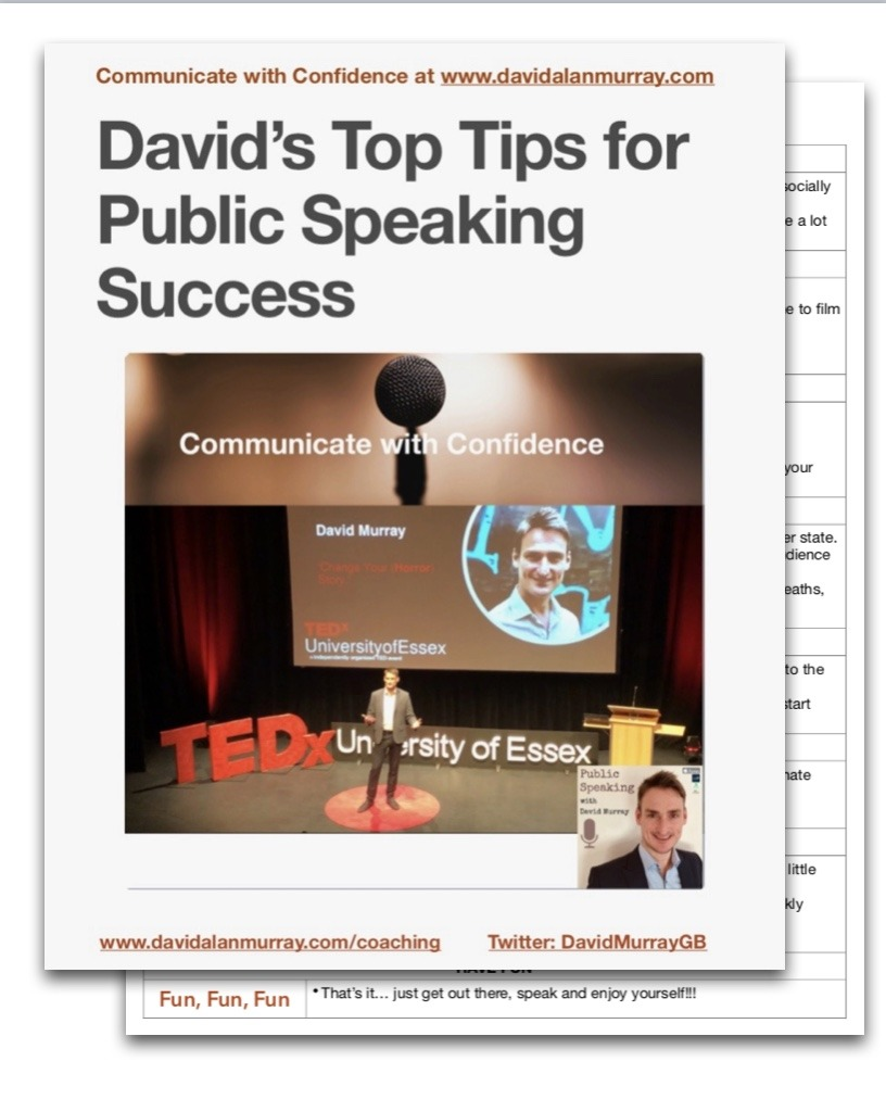 David Murray Public Speaking Top Tips