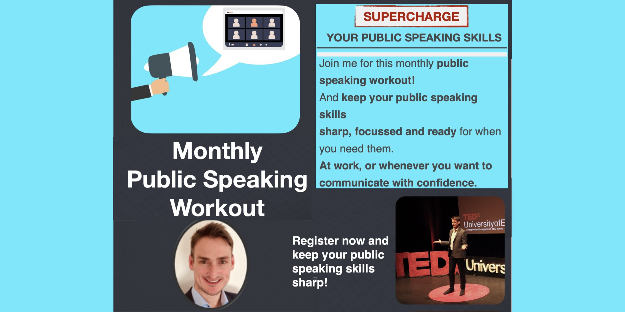 Monthly public speaking workout with David Murray